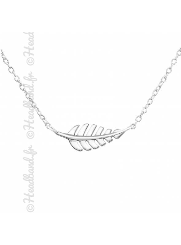 Collier feuille horizontale nervures argent 925