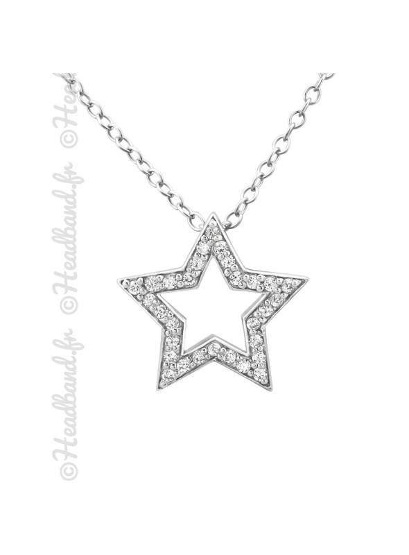 Collier étoile pavée de cristaux argent 925