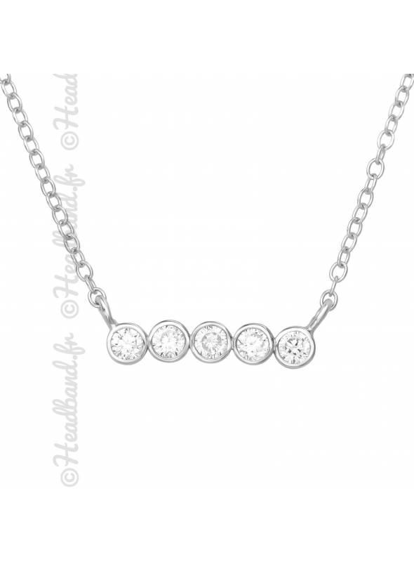 Collier 5 ronds cristaux zirconium argent 925