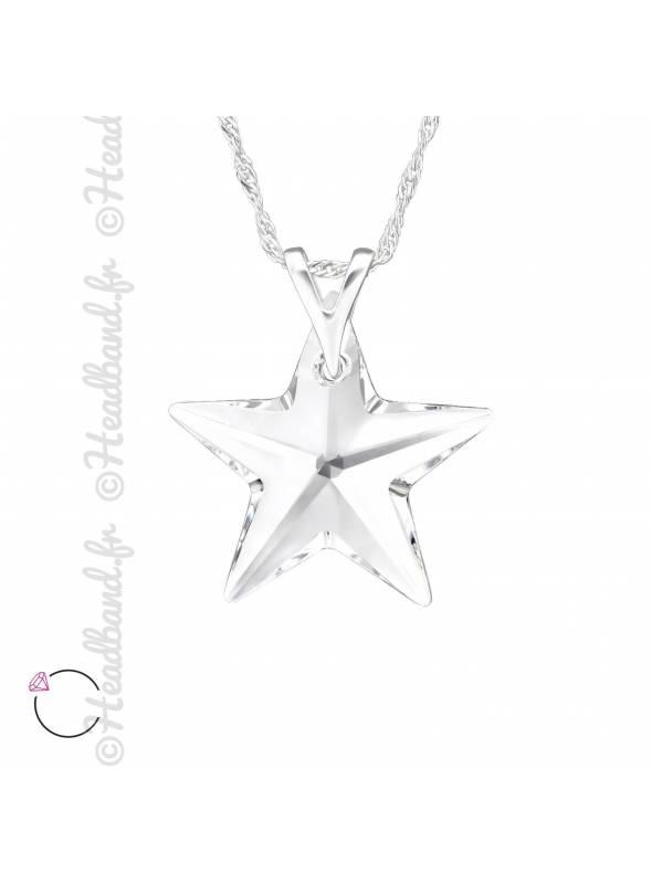 Collier étoile avec cristal Swarovski blanc