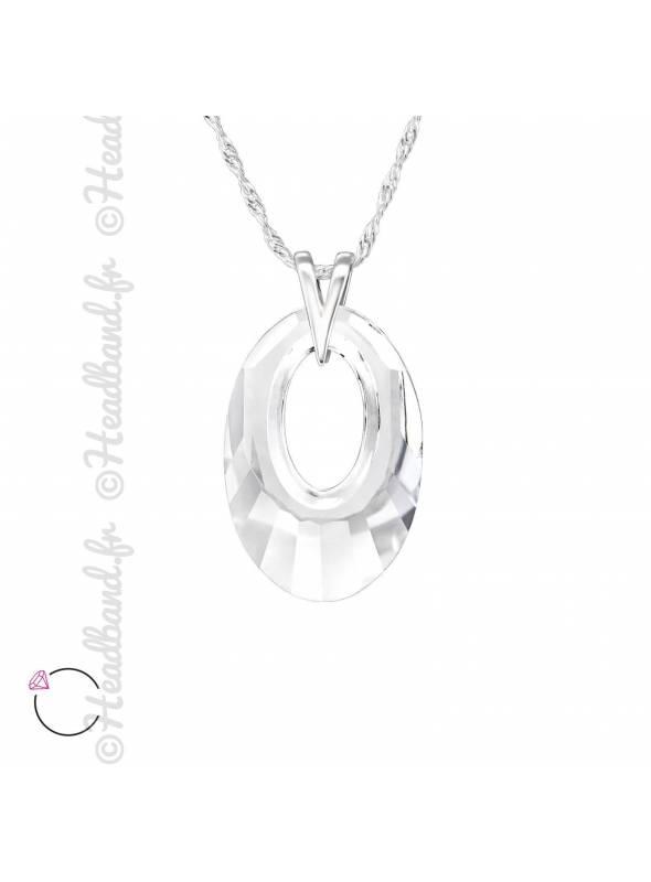 Collier ovale avec cristal Swarovski blanc
