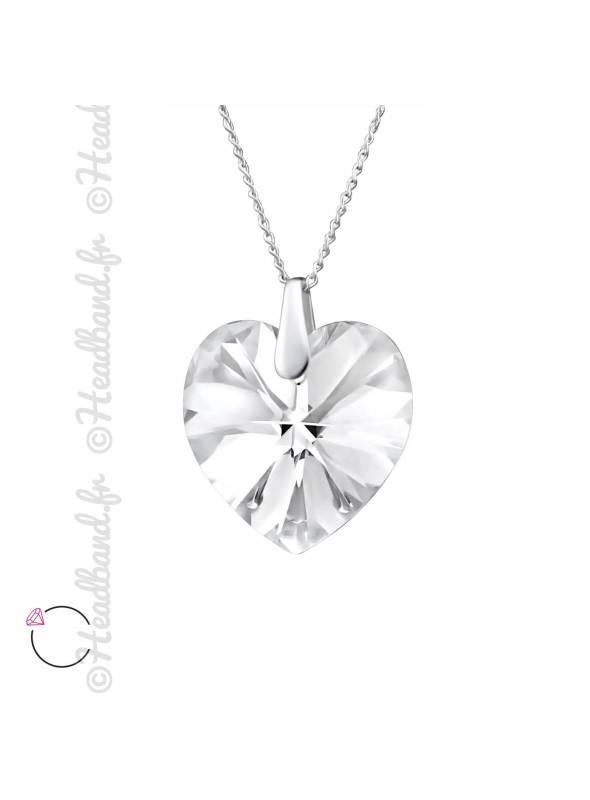 Collier coeur avec cristal Swarovski blanc