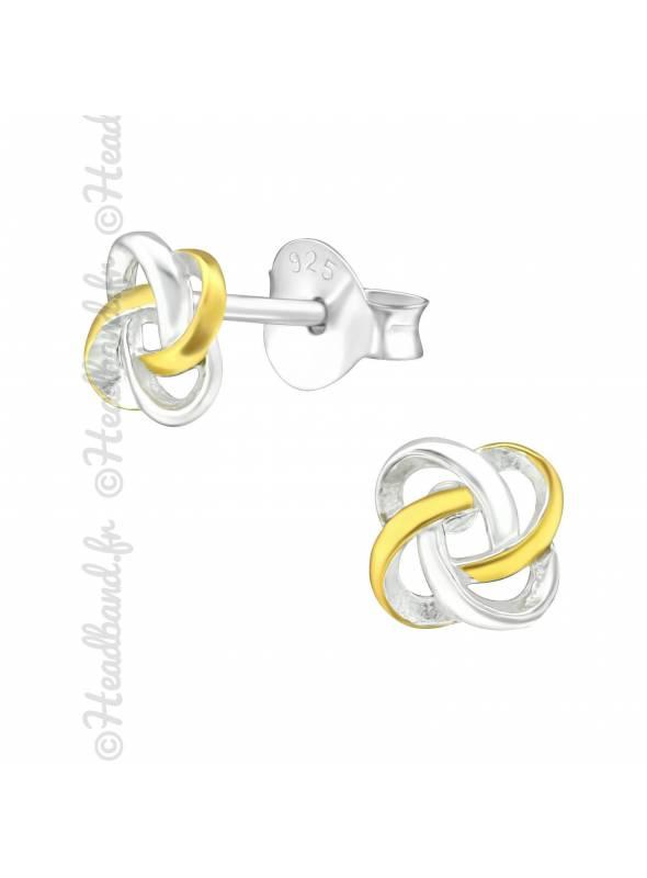 Boucles d'oreilles celtique plaqué or et argent