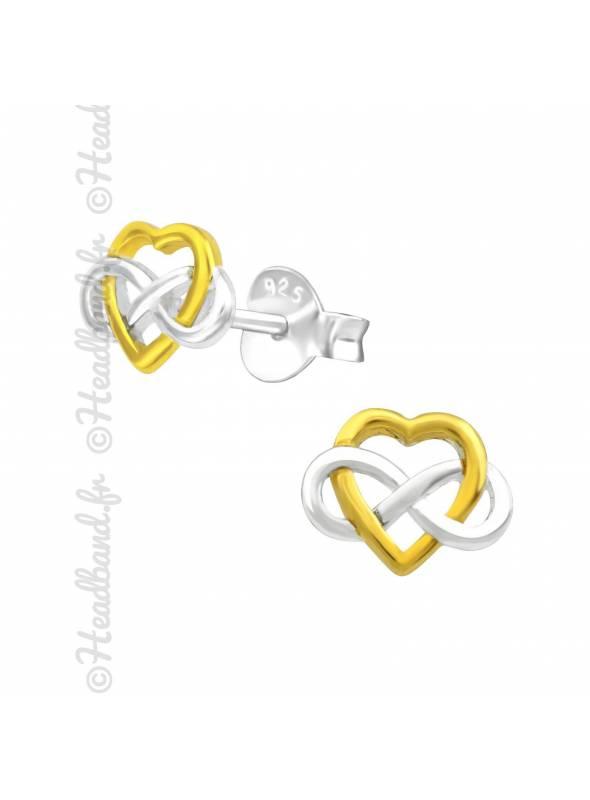 Boucles d'oreilles coeur symple celte plaqué or et argent