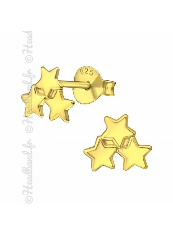 Clous d'oreilles 3 étoiles plaqué or