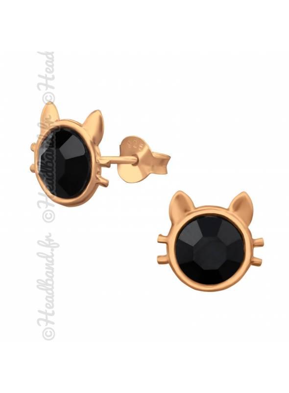 Clous d'oreilles chat pierre noire plaqué or rose