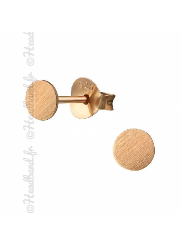 Clous d'oreilles cercle texturé plaqué or rose