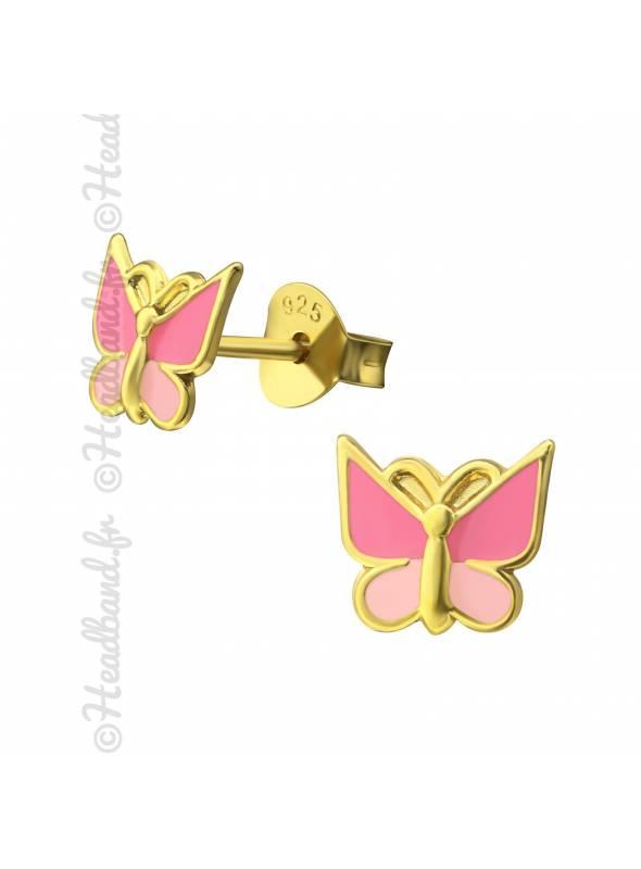 Clous d'oreilles papillon rose émail plaqué or