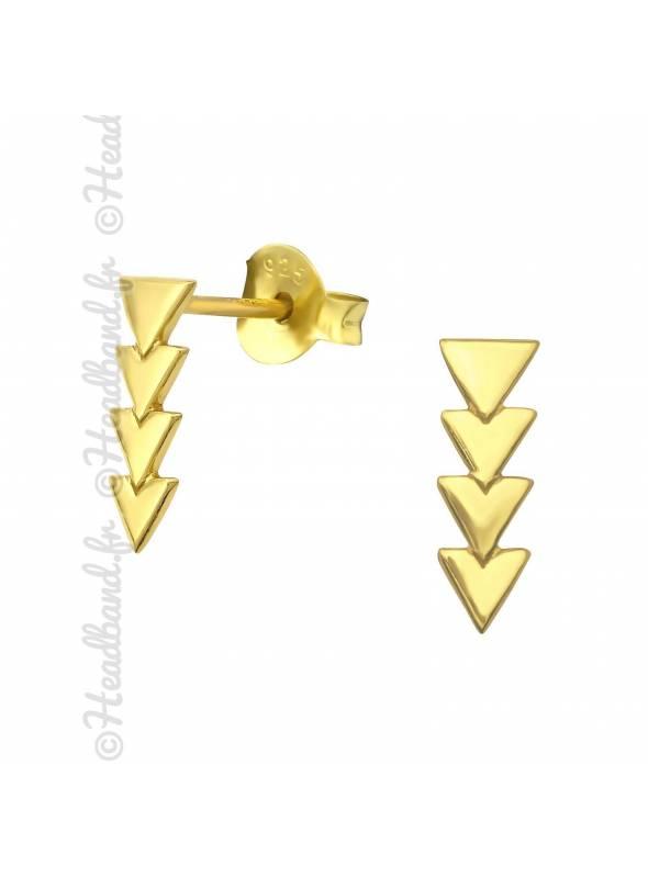 Clous d'oreilles triangles pendants plaqué or