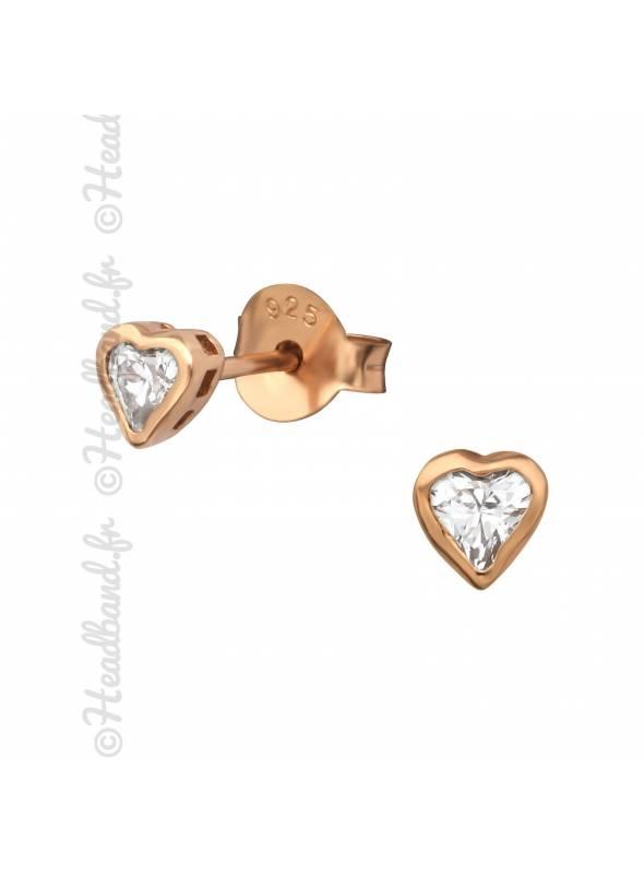 Clous d'oreilles coeur pierre plaqué or rose