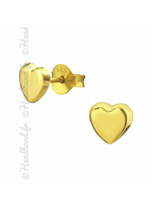 Clous d'oreilles petit coeur plaqué or