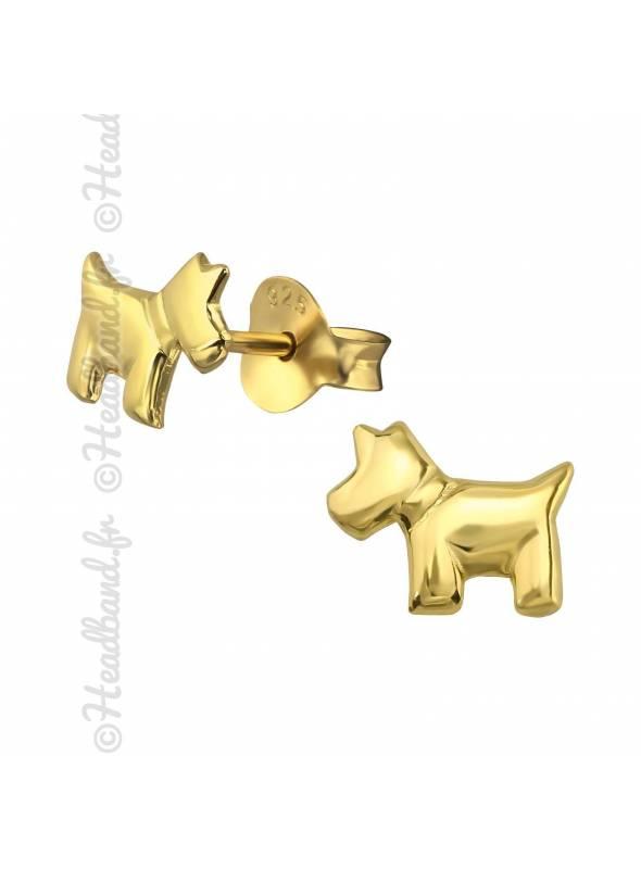 Clous d'oreilles chien plaqué or