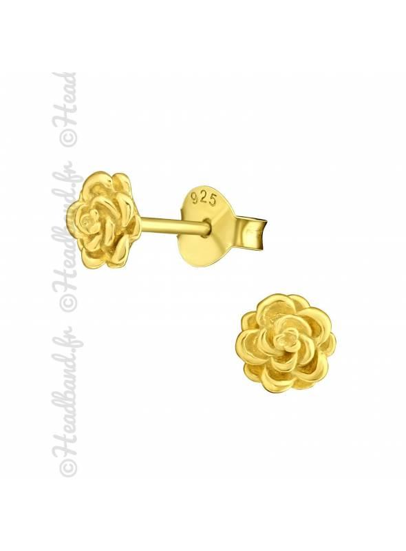 Clous d'oreilles flower plaqué or