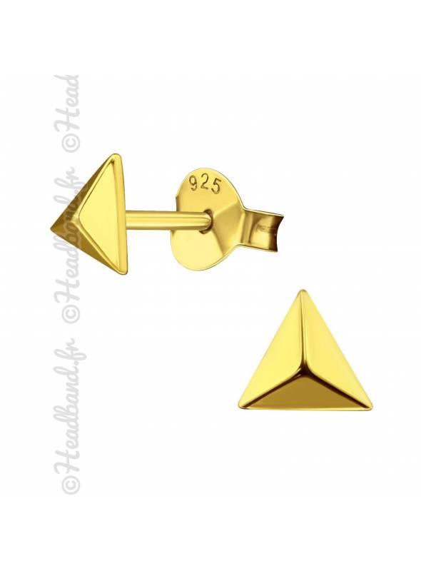 Clous d'oreilles pyramide plaqué or