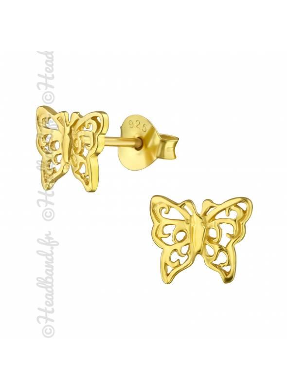 Boucles puces papillon antique plaqué or