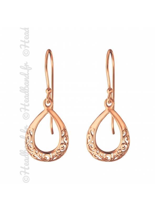 Boucles d'oreilles goutte antique plaqué or rose