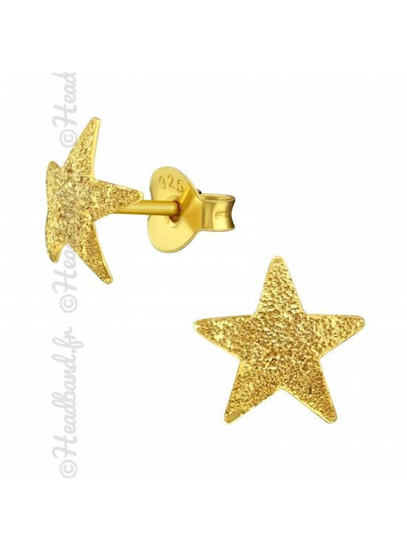 Boucles puces étoile texturée plaqué or