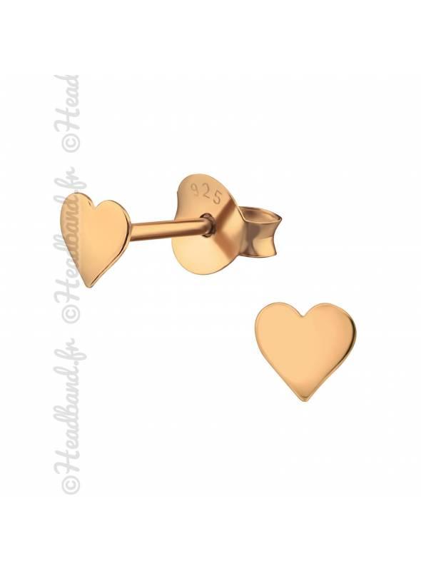Boucles puces coeur plaqué or rose