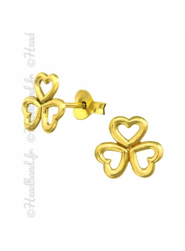 Boucles d'oreilles puces trèfle coeur plaqué or