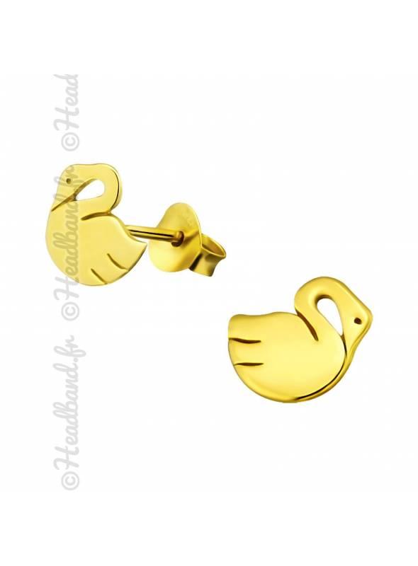 Boucles d'oreilles puces cygne plaqué or