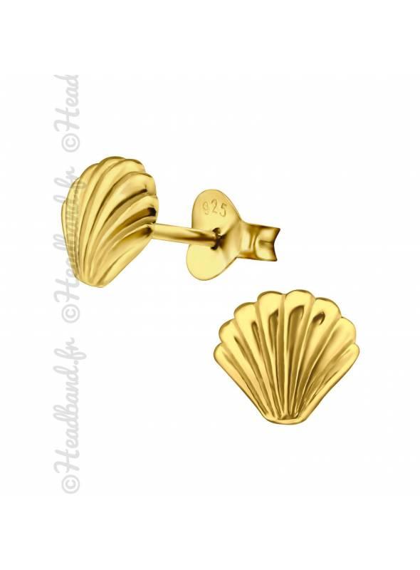 Boucles d'oreilles puces coquillage plaqué or
