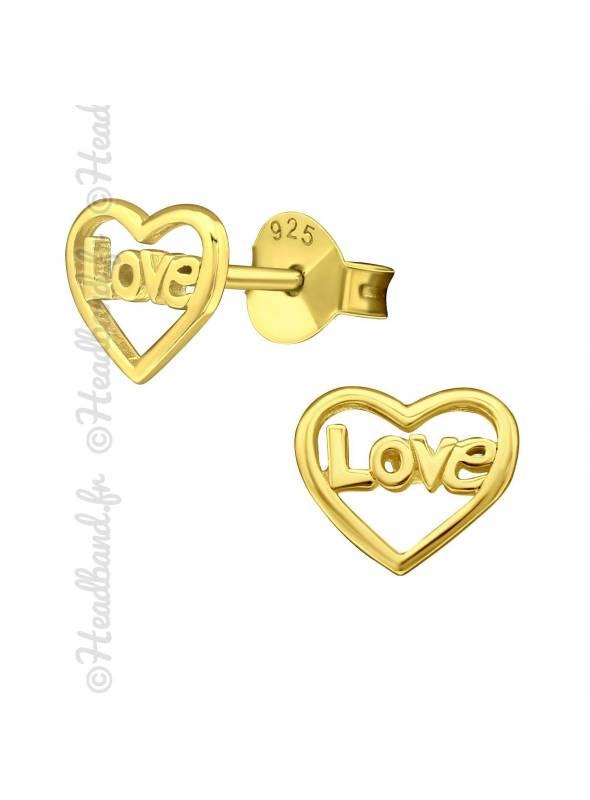 Boucles d'oreilles puces love coeur plaqué or
