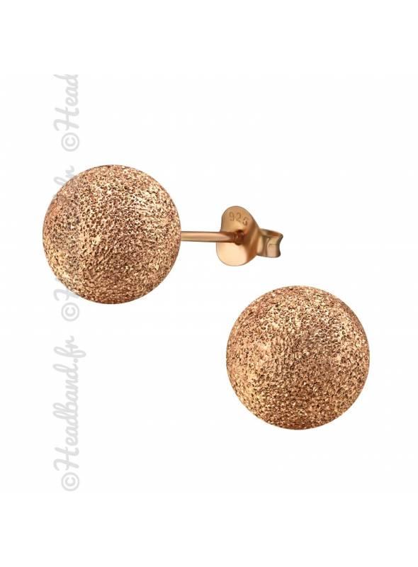 Clous d'oreilles boule 1 cm plaqué or rose