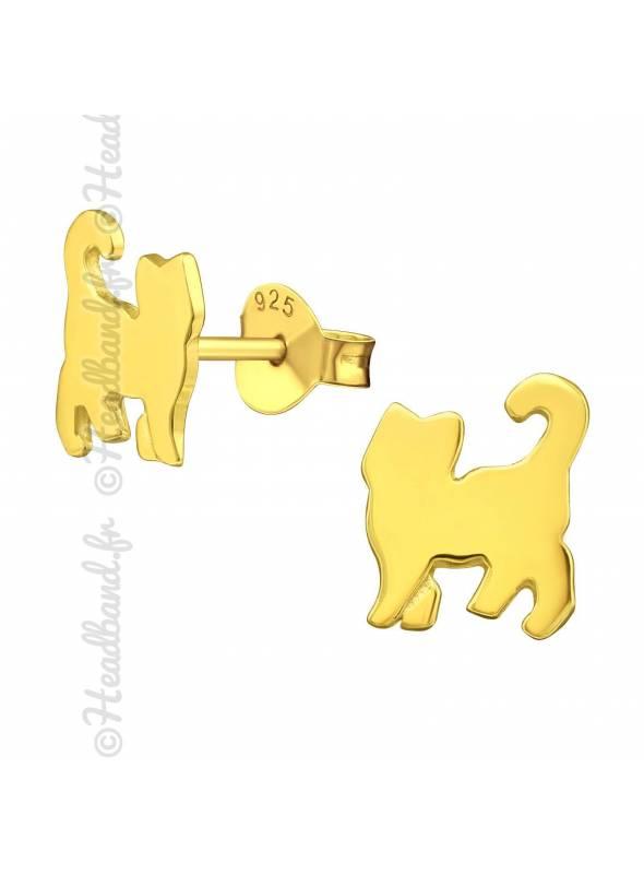 Clous d'oreilles enfant chat plaqué or