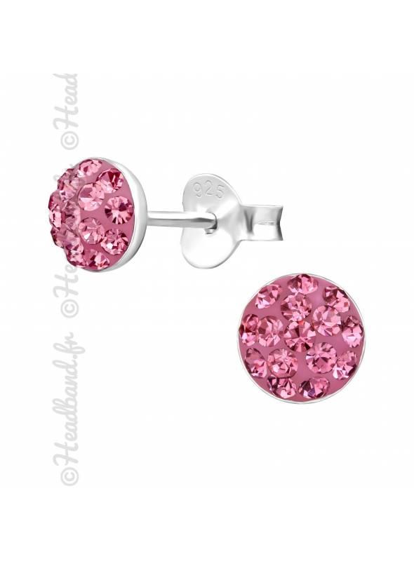 Boucles d'oreilles rond avec cristaux Swarovski rose