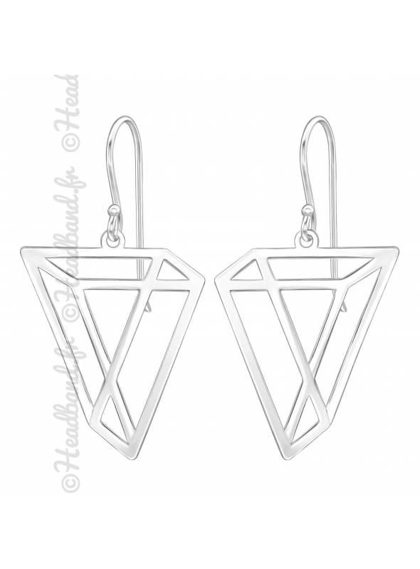 Boucles d'oreilles géométriques argent 925