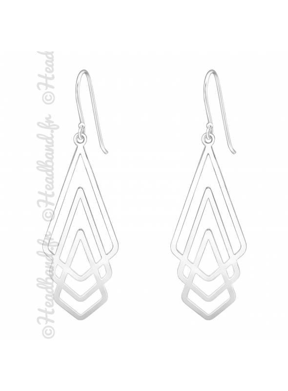 Boucles d'oreilles 3 triangles découpes argent