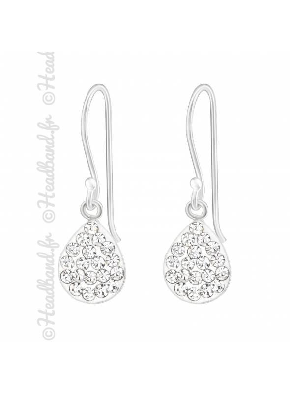 Boucles d'oreilles goutte cristaux argent