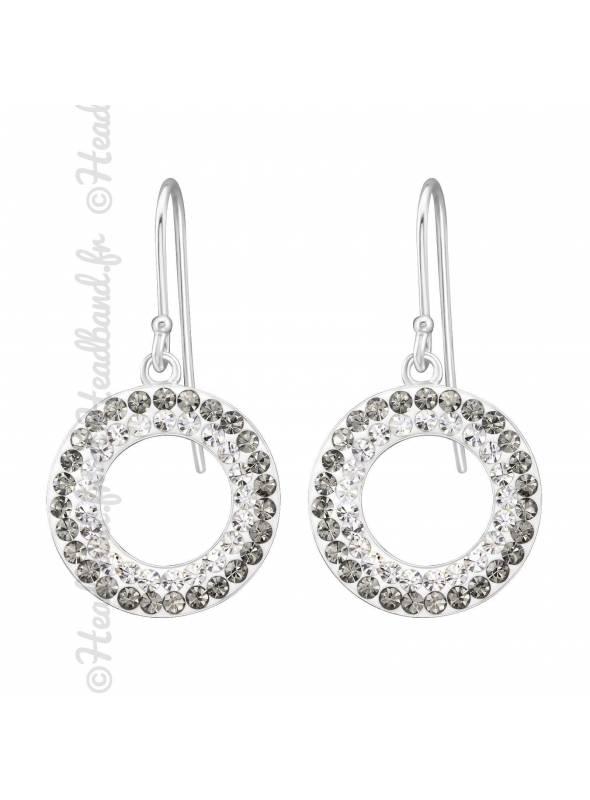 Boucles d'oreilles rond cristaux blanc gris argent