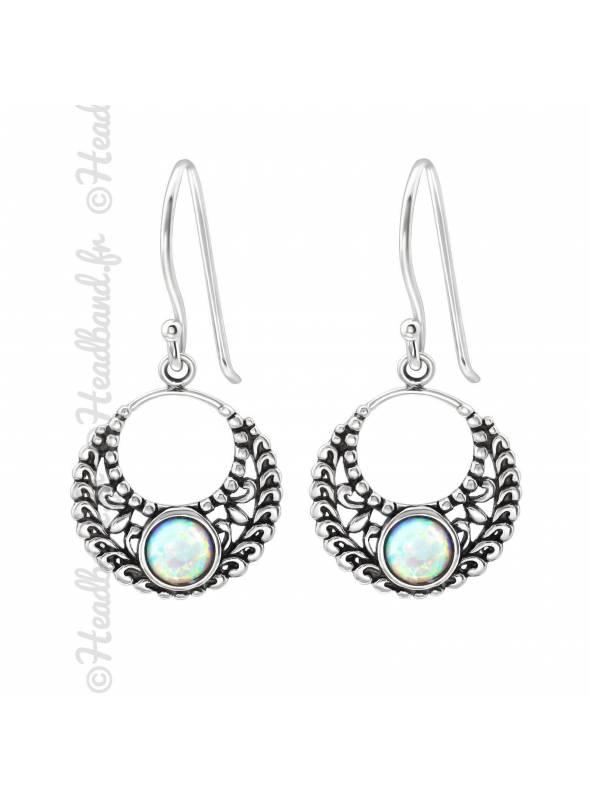Boucles d'oreilles Bali pierre opale argent