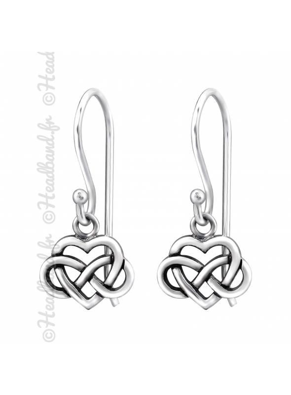Boucles d'oreilles coeur celte en argent