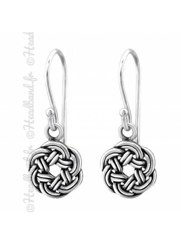 Boucles d'oreilles noeud circulaire celte en argent