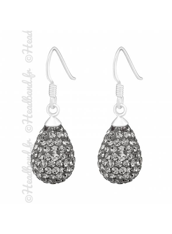 Boucles d'oreilles strass black diamond en argent