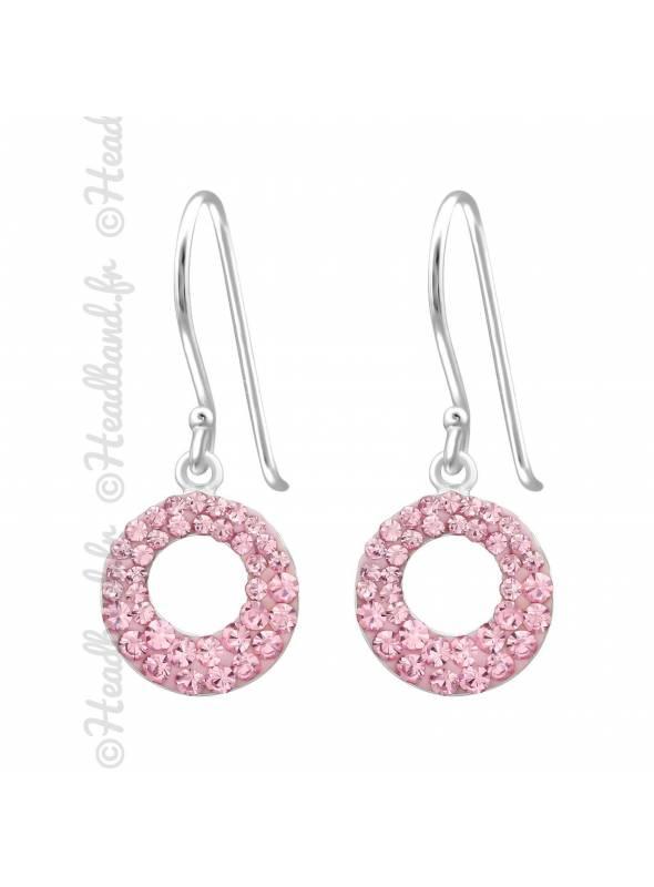 Boucles d'oreilles rond strass rose en argent