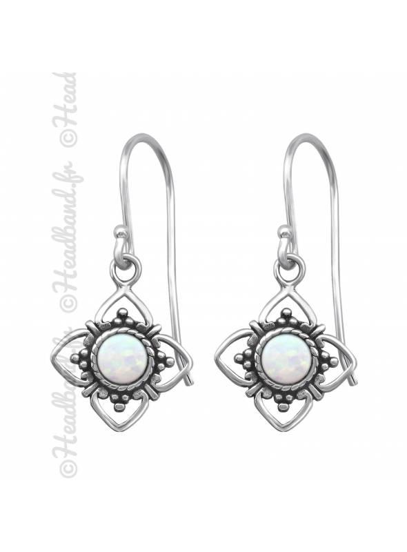 Boucles d'oreilles estampe pierre de lune en argent