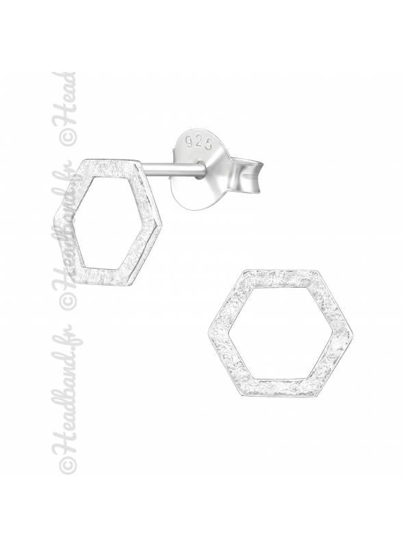 Clous d'oreilles hexagone texturé en argent