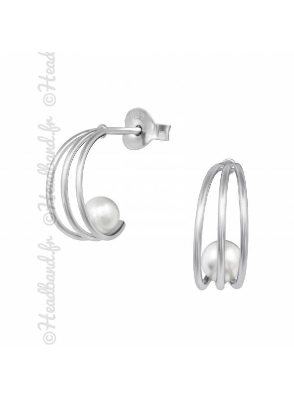 Demi-créoles perle blanche en argent
