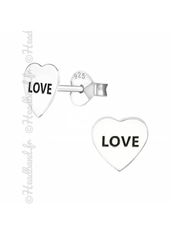 Boucles puces mot love en argent