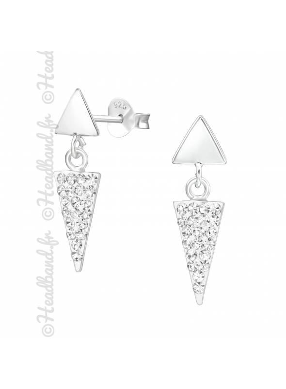 Clous d'oreilles pendant triangle strass en argent