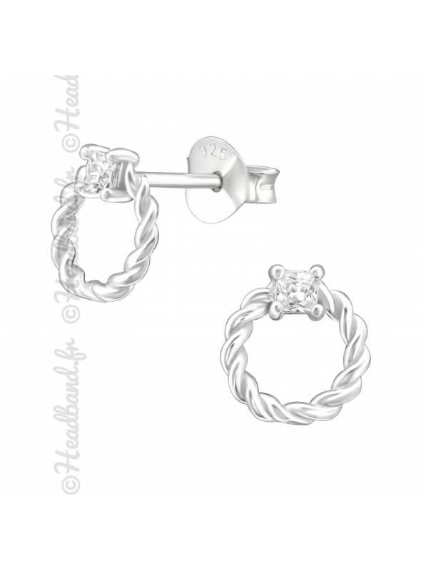 Boucles puces anneau twisté en argent