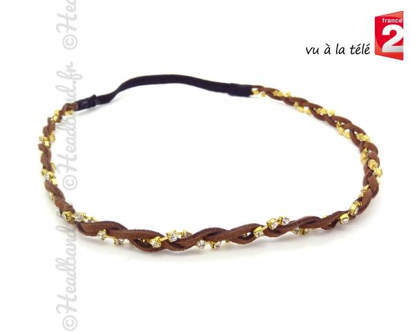 Headband tressé marron
