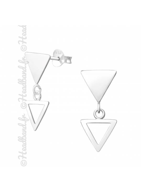 Boucles puces double triangle en argent