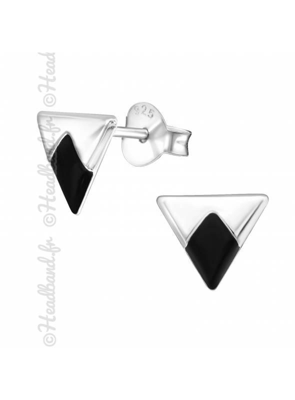 Boucles puces triangle noir en argent