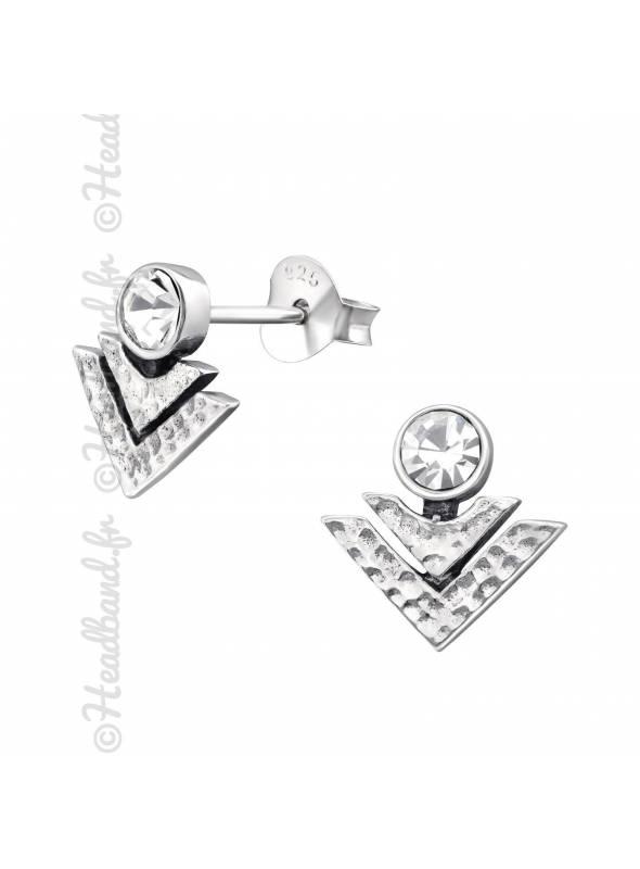 Boucles géométriques effet martelé en argent