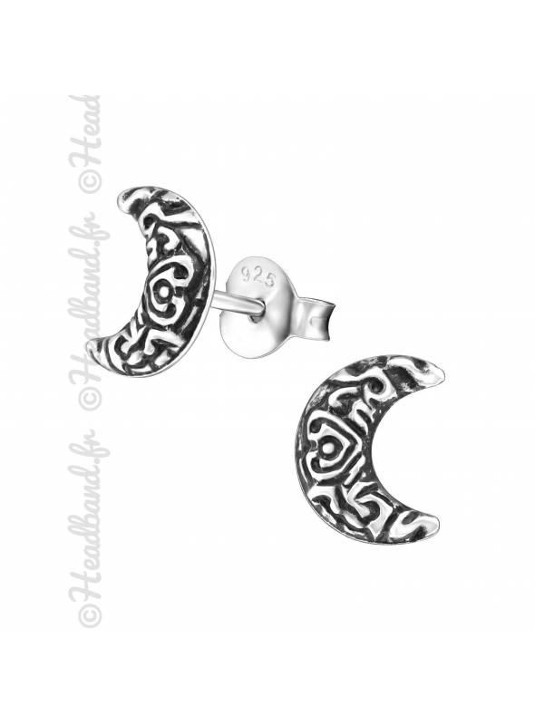 Boucles puces lune motifs ethniques en argent