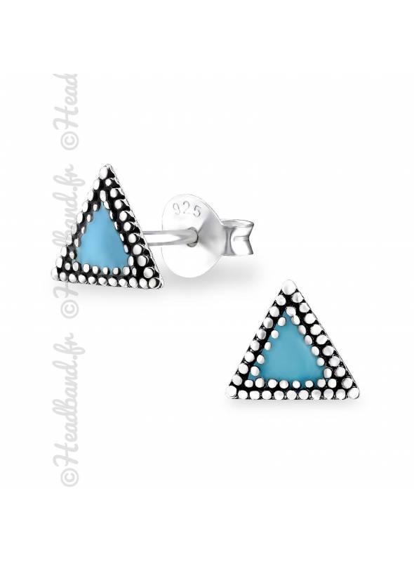 Boucles puces triangle epoxy bleu en argent